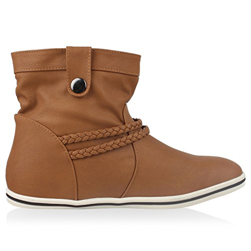 Sportliche napoli Top Boots Flache Stiefel High Hellbraun fashion Low Low Stiefeletten Jennika Damen 1qRqw