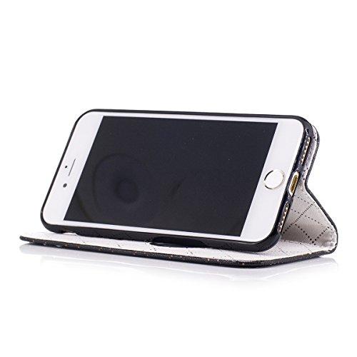iPhone 7 Hülle, iPhone 7 Brieftasche, Lifetrut Grid & Heart Entworfen Magnetische Schützende Leder Flip Stand Brieftasche Hülle Case für iPhone 7 [Lila] E201-Schwarz