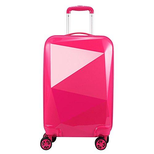 PARTYPRINCE Equipaje de cabina 4 ruedas ABS+PC ligera diamante maleta viaje cabina 20097 rosa oscuro