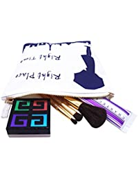 AvecToi Right Place Right Time Small Canvas Cosmetic Bag Day Clutch Coin Purse Travel Zipper Pouch Case (White)