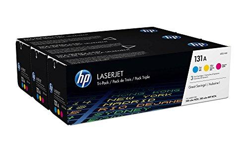 HP 131 - Pack de ahorro de 3 cartuchos de tóner Original HP 131A Cian, Magenta, Amarillo para HP LaserJet Pro 200 M251n, 200 M251nw, 200 M276nw, 200 MFP M276n, 200 MFP M276nw