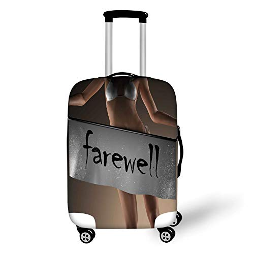 Travel Luggage Cover Suitcase Protector,Going Away Party Decorations,Sexy Bikini Model Woman Holding Farewell Word on Banner,Grey Brown Black,for Travel XL - Brown Womens Bikini