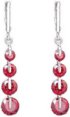 Pendientes Cubicos De Circonita - TOOGOO(R) Pendientes cubicos de circonita de moda de oro llenado de mujer para joyeria de regalo de color rojo