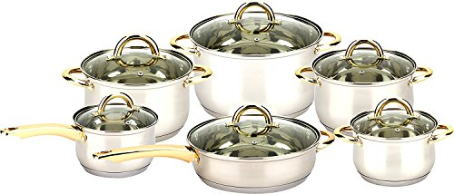 3416 Uniware 12pcs Stainless Steel Cookware Set with Ss Gold Plated Handle