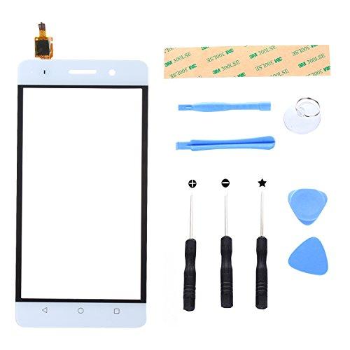Lusee Digitizer Bildschirm für Huawei G Play Mini Vorderseite Ersatz Touch Screen Display Reparatur Touchscreen Glas Replacement Front Komplettes Glas Touch Panel mit Werkzeug Set Weiß Touch-digitizer-panel