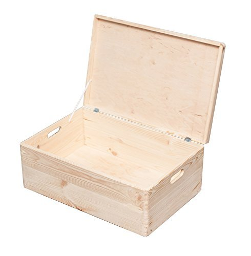 HRB Stapelboxen 8,4-57,6l Aufbewahrungsbox Lagerbox Holzkiste mit/ohne Deckel (57.6l 40x60x24cm mit Deckel)
