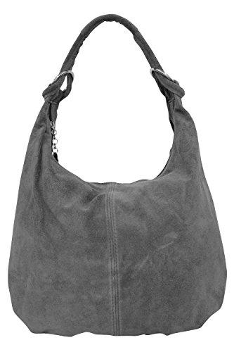 AMBRA Moda Damen Wildleder Schultertasche,Damen Handtasche, Beutel, Hobo-Bags, Shopper, Beuteltaschen, Trend-Bags,Veloursleder, Suede, Ledertasche,DIN-A4, 42cm x 35cmx 3cm WL803 (Anthrazit) -
