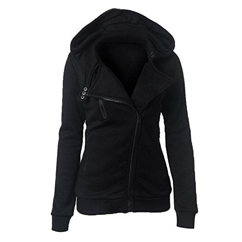 BaronHong Fashion Laple Hoodie Zip Poches Sweat à capuche à capuche Noir