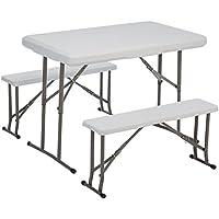Outsunny–® 3piezas mesa de picnic camping mesa asiento Grupo camping Muebles–Maletín mesa, color blanco, Acero + PE