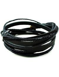 Original Tribe Pulsera de cuero Negro Muñequera brazalete, regalo de la amistad, cuerdas negro pulsera, mujeres pulsera del abrigo, los hombres pulsera del abrigo  SL2337