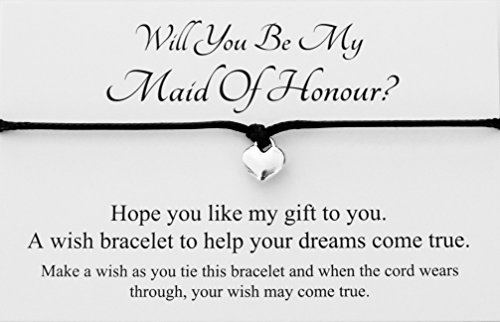 Will You Be My Maid Of Honour? Wedding Heart Charm Wish Bracelet Card Gift Bag Friendship charmed Bracelet Party Favour(Hand made in UK) (Black)
