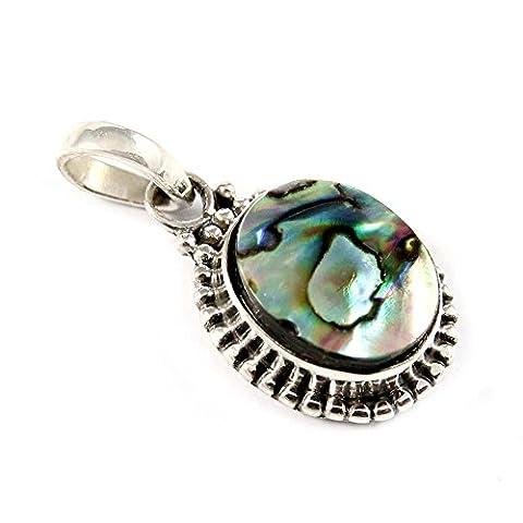 Stylish Fashions 925 Sterling Silver Oval Shape Shell Pearl Gemstone Pendant   Size : 2.54 CM)