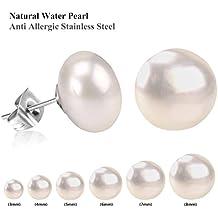 Luxusteel Set orecchini con perla naturale di acqua dolce autentica al 100%, per donna, colore: Rosa/Bianco