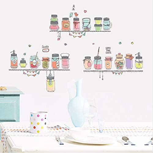 dasdjjhbh Bonbonfarben Flaschen Wandaufkleber Für Wohnzimmer Schlafzimmer Kinderzimmer Küche Hintergrund Wand Dekor Kunst DIY Abziehbilder Wandbild