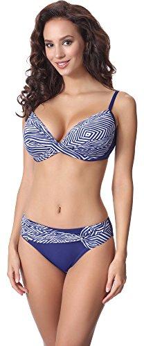 Antie Damen Bikini Set Costarica 2017 (Blau/Weiß(1700), Cup 85C / Unterteil (Kostüme 1700)