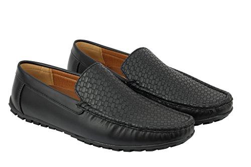 Pour Homme Noir/Bleu en simili cuir tissé Vamp Mocassins Casual Flâneur Chaussures Antidérapant sur la conduite Noir - noir