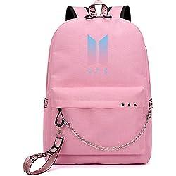 KPOP BTS Bangtan Mochila Unisex para niños, Mochila Escolar para portátil, Mochila Escolar con Puerto de Carga USB, Mochila de Viaje, Bonito Regalo para los Fans de BTS Rosa Rosa 2 30cm x 15cm x 45cm