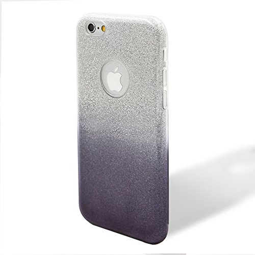 Custodia per iPhone 5/5S/SE, Case Cover per iPhone 5/5S/SE, [ Soft TPU + Glitter Paper + Hard PC ] 3 in 1 Hybrid Layers Protection Back Cover, Silm Thin (Rosa) Skin Cases per Apple iPhone 5/5S/SE + 1x Grigio
