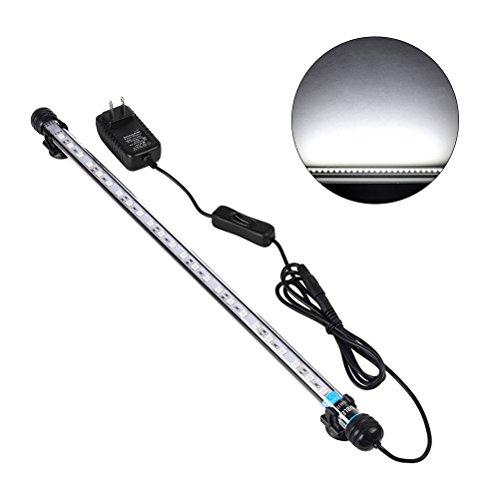 UEETEK 48CM LED Luces de acuario 5050 SMD RGB Barra de luz impermeable Clip lámpara - Blanco (Europe Standard Plug)