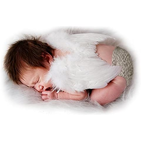 FashionWings (TM) White Feather Angel Wings & Halo for Newborn 0-6 Mo Babies by FashionWings