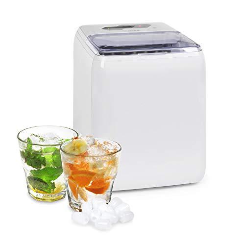 Klarstein Coolio Eiswürfelmaschine, Klareis, 20 kg Eis pro Tag, Wassertank: 2,8 l, Touch-Bedienfeld, 2 Eiswürfelgrößen, Auto-Clean, Eiswürfelbereiter, Icemaker, weiß