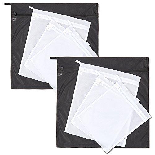 EZOWare 8er Wäschenetz, Doppelschicht Wäschebeutel für Wäscherei Waschmaschine in 3 Größen - Schwarz / Weiß (Seide Strumpfwaren)