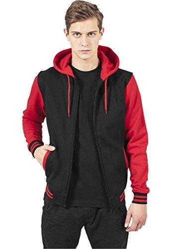 TB287 2-tone Zip Hoody Jacke Sweat Sweatshirt Kapuze, Größe:M;Farbe:blk/red (Baumwolle-zwei-ton-taschen)