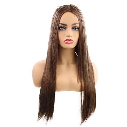 Mode-Gesicht, das langes glattes Haar chemischer Faserperückekopf 26inches hellbraun repariert für Täglichen Verschleiß Karneval Kostüme Cosplay Halloween Party (Halloween Troll Gesicht)