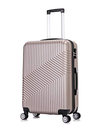 Frentree Hartschalen-Koffer 02 | Trolley Reisekoffer Handgepäck mit 4 Rollen M-L-XL-Set zum Auswahl, Koffer Standard Farbe:Champagner, Koffer Standard Größe:M(55CM)