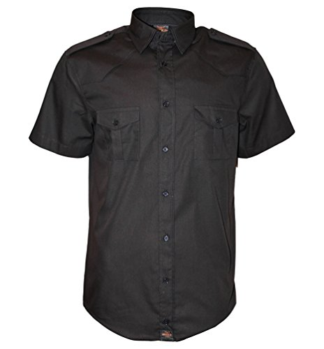 Rock-it apparel® camicia a maniche corte da uomo, camicia casual americana, camicia militare, camicia casual, s-5xl made in europe, colore nero large