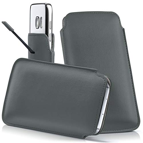 moex Samsung B2710 | Hülle Grau Sleeve Slide Cover Ultra-Slim Schutzhülle Dünn Handyhülle für Samsung B2710 Case Full Body Handytasche Kunst-Leder Tasche