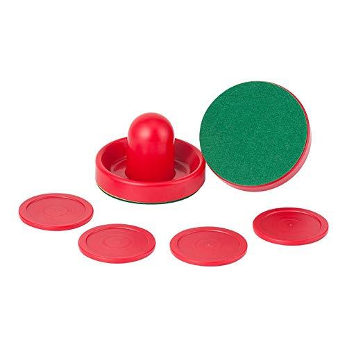LANGING Lufthockey-Pucks mit 2 roten Lufthockey-Pushern und 2 dunkelgrünen Filzen für Spieltisch-Zubehör, Rot, 6 Stück