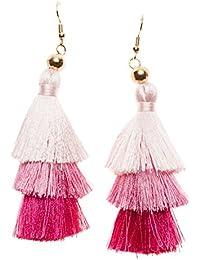Happiness Boutique Damas Pendientes de Borla en Color Rosa con Efecto Degradado | Pendientes Apilados en Color Pastel y Rosa Caliente