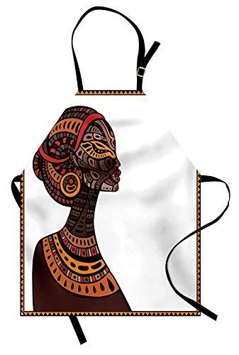 Afrikanisches Schutzblech, Stammes-exotische Schönheits-Frauen-Zahl mit traditioneller Masken-Totem-Illustration, Unisexküche-Schellfisch-Schürze mit justierbarem Hals für das Kochen der backenden ()