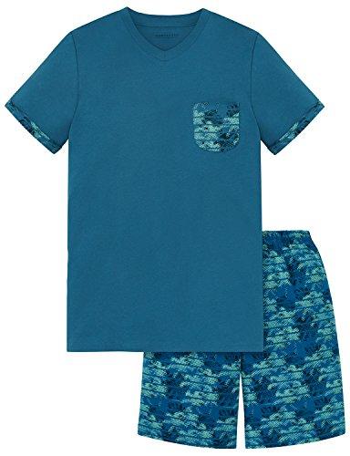 Schiesser Jungen Zweiteiliger Schlafanzug Anzug Kurz, Blau (Aqua 833), 176 (Herstellergröße L)