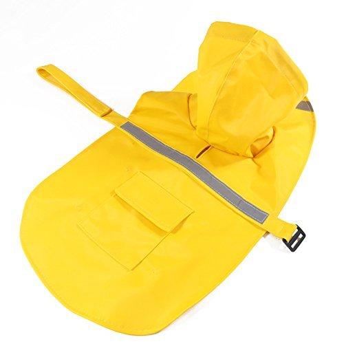 Gelb Einstellbare Wasserdichte Haustier Hund Regenmantel Sicherheit Mantel Jacke mit reflektierenden sicheren Streifen für kleine/mittlere/große Hund, wie Husky, Teddy, Samoyed (XXL: Length(78-85cm))