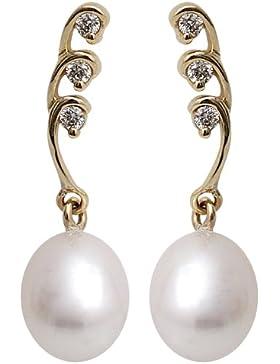 Kimura Perlen Damen Ohrringe 9 Karat Gelbgold mit drei untereinander gereihten Diamanten