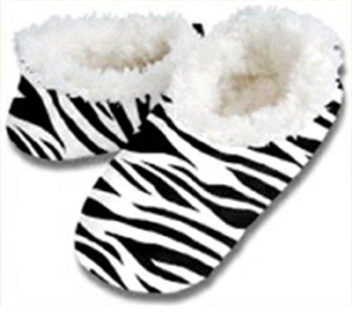 snoozies kuschelig warme Hausschuhe Zebra schwarz weiß