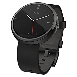 Motorola Moto 360 Stainless Steel Smartwatch and Heart Rate/Activity Tracker with Bluetooth Connectivity Compatible with Android 4.3+ Smartphones - Dark Steel/Black Leather Strap
