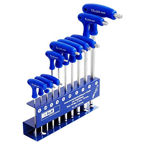 hlüssel Satz HX, T-Griff, mit Kugelkopf, Werkzeughalter aus Metall,10-tlg: 2 mm - 10 mm, metrisch ()
