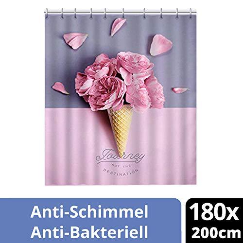 ERBI - Premium Textil Duschvorhang Shower Curtain bunt für Dusche Badewanne Anti-Schimmel Antibakteriell Wasserdicht Vorhang versch. Design Muster inkl. 12 Duschvorhangringen [180x200cm] -