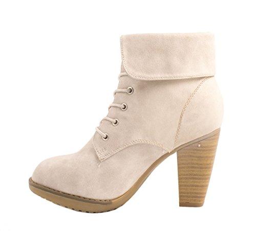 Elara Damen Stiefelette | Ankle Boots | Blockabsatz Schnürer Grigio