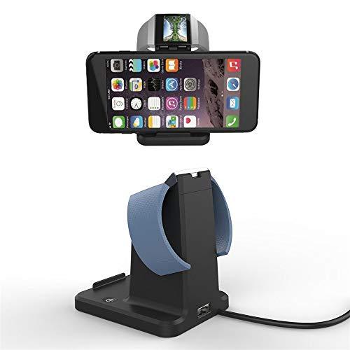 Upxiang 2 in 1 Ladegerät Halterung Ladestation für Ladestation der Basisstation für Fitbit Blaze für Smartphones und Tablets (Schwarz)