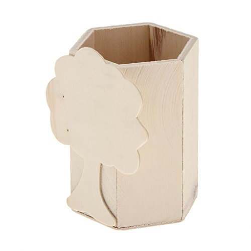 Baoblaze Unvollendet Holz Schreibtischköcher Stifteständer zum bemalen basteln Kinderzimmer Schreibtisch Stiftebehälter Stiftehalter...