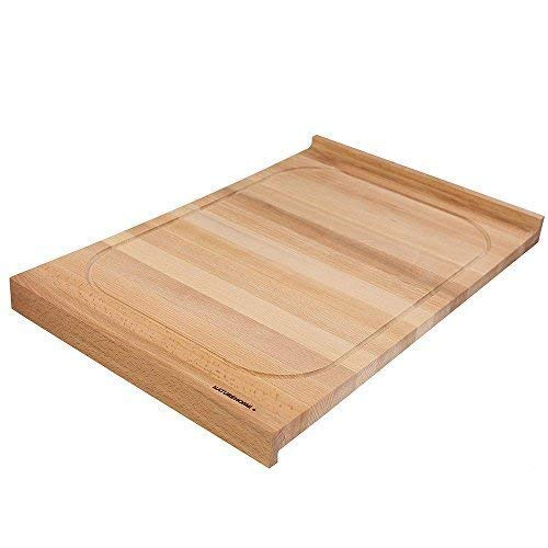 NATUREHOME Schneidebrett Holz Groß Buche - 60x40x4 cm Holzschneidebrett teigbrett Beidseitig Massivholz Küchenbrett Holzbrett Hochwertig Tranchierbrett mit Saftrille