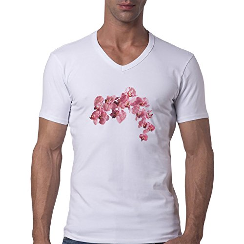 Flowers Nature Blossom Plant Pink Blossom Herren V-Neck T-Shirt Weiß