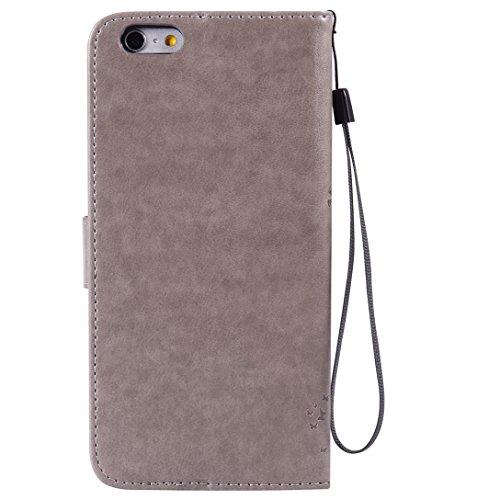(Sleeping Bear)Apple iPhone 7 Case/Custodia/Caso, squisito elegante lalbero e il gatto il disegno in rilievo PU Leather telefono Caso/custodia ,[Lanyard] Retro Puro Color Protettiva Flip carta vibraz Grigio