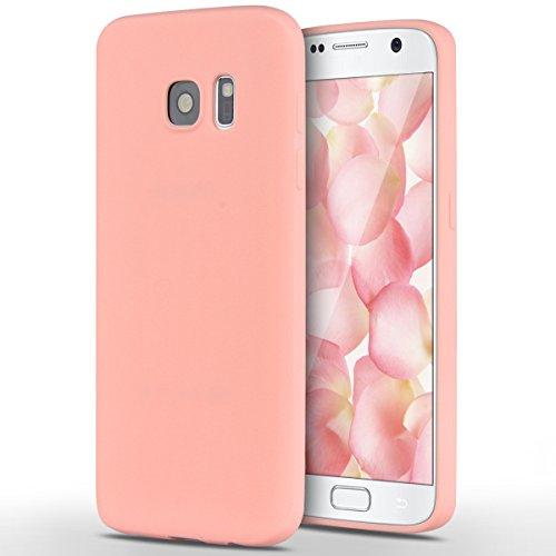 Samsung Galaxy S7 Hülle, Yokata Einfarbig Jelly Weich Silikon Gel Case Ultra Slim Matte Cover Anti-Fingerprint Schutzhülle Sehr Dünn Handyhülle - Rosa Silikon Gel Case