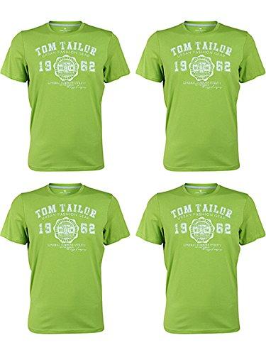 TOM TAILOR Herren Rundhals T-Shirt Logo Tee Basic Verschiedene Farben und Farbvarianten 4er Pack, Größe:3XL, Farbe:4X Fant Plant Green (7695) (T-shirt 4x)