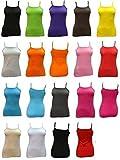 Mesdames coton gilets mince sangle extensible à encolure dégagée camisole - tailles et couleurs (ladies thinstrap vest)Ref:2247 (moyenne (medium), rose foncé (hot pink)) - 2